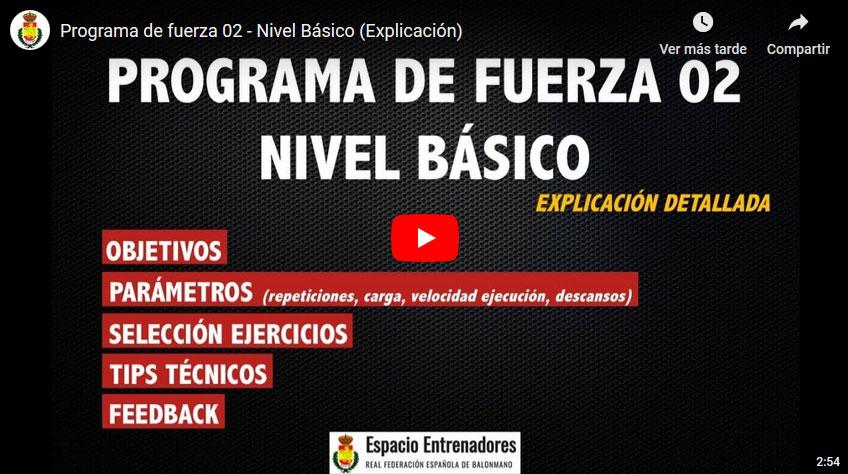 Enternamiento: Programa de fuerza 02 – Nivel Básico (Explicación)